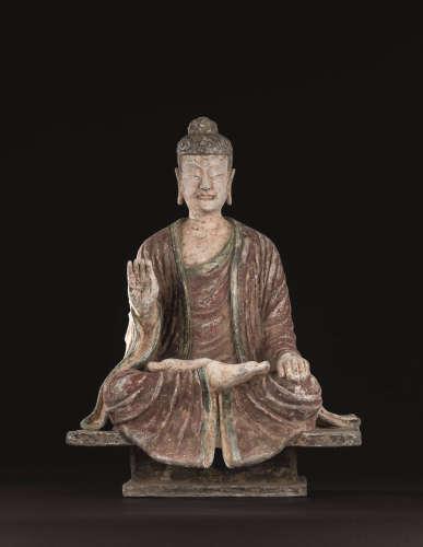 唐代 石雕彩绘释迦牟尼佛座像