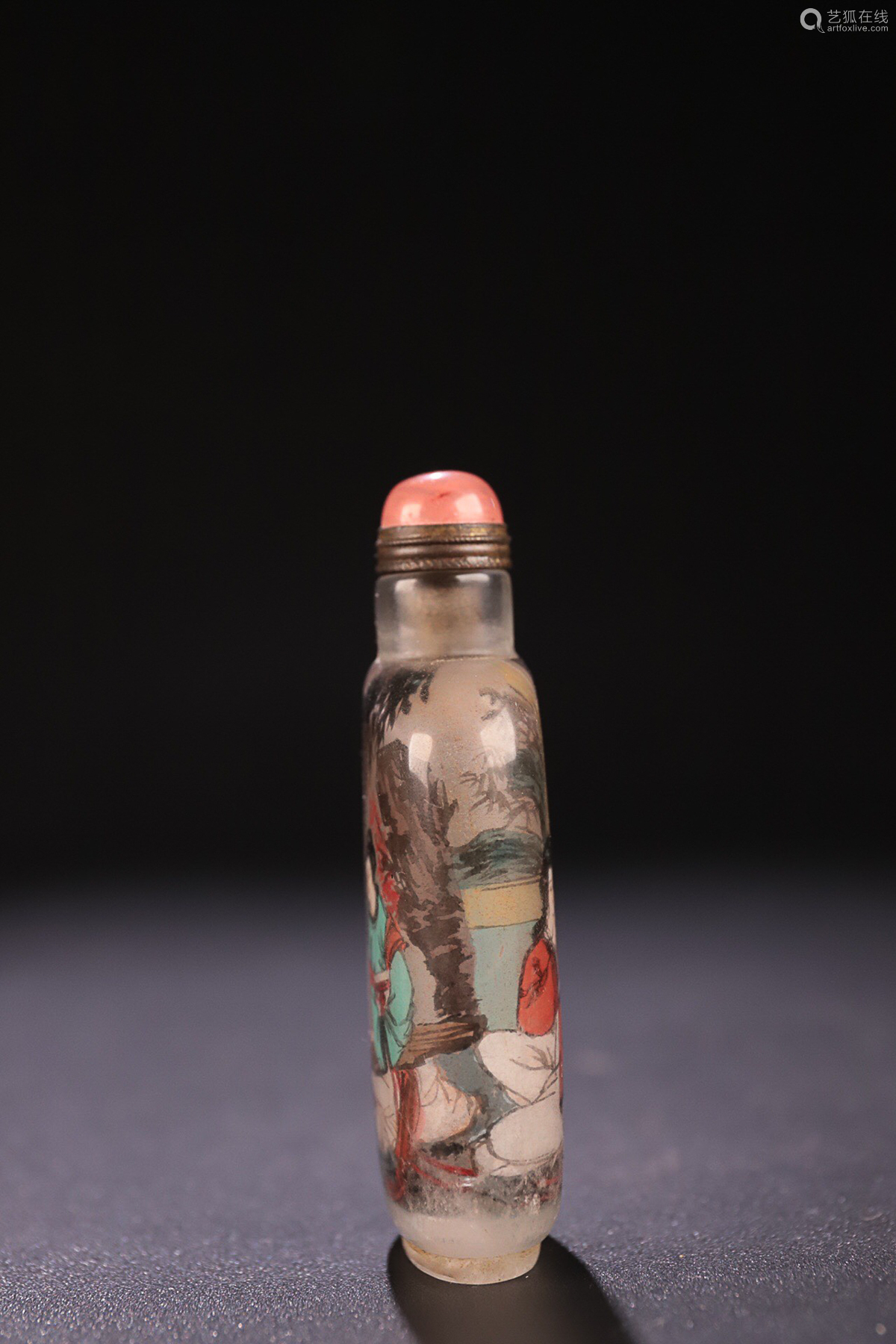 17-19TH CENTURY, AN INSIED PAINTED  STORY DESIGN CRYSTAL SNUFF BOTTLE, QING DYNASTY