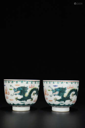 17-19TH CENTURY, A PAIR OF DRAGON PATTERN PORCELAIN CUP, QING DYNASTY