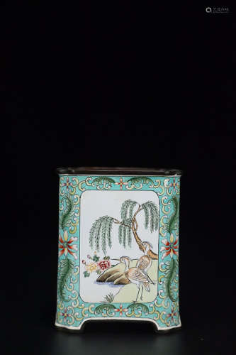 17-19TH CENTURY, A FLORAL AND BIRD PATTERN ENAMEL BRUSH POT, QING DYNASTY