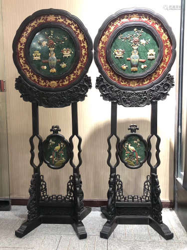 A PAIR OF STORY AND  BIRD AND FLOWER DESIGN TABLE SCREEN