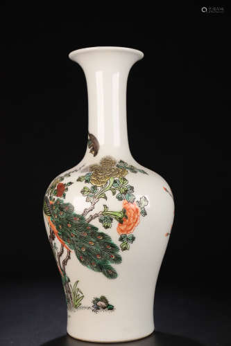 17-19TH CENTURY, A FLORAL&BIRD PATTERN FAMILLE ROSE VASE, QING DYNASTY