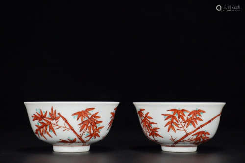 17-19TH CENTURY, A PAIR OF BAMBOO DESIGN  FAMILLE ROSE CUPS, QING DYNASTY