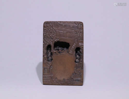 AN INK SLAB CARVED POETRY&STORY-TELLING