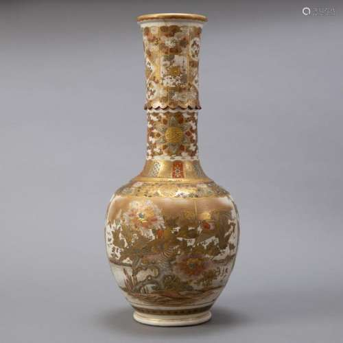Large Japanese Meiji Period Satsuma Vase