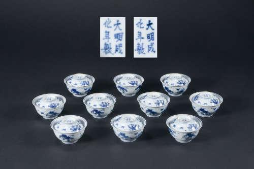 清代 青花葡萄紋蓋碗 十件