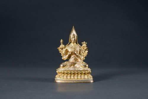 清代 銅鎏金宗喀巴座像