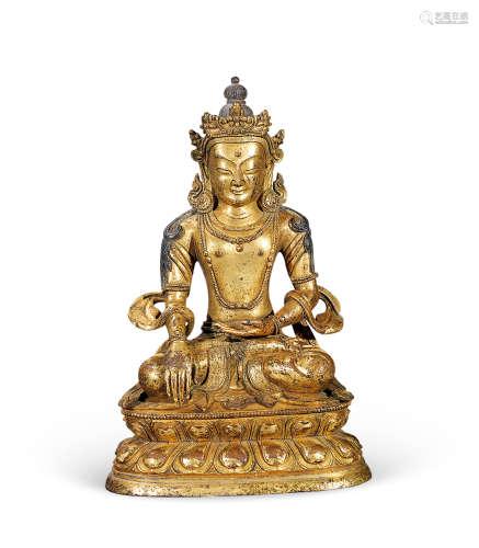 清中期 铜鎏金菩萨像