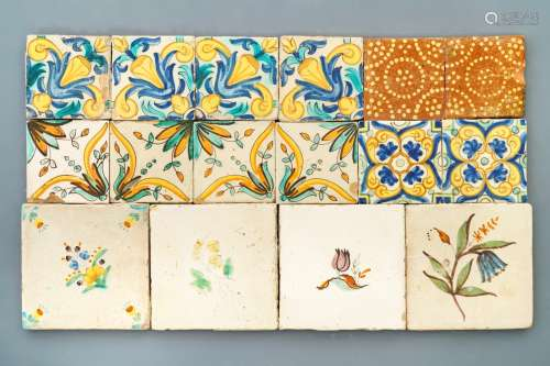 A varied collection of polychrome tiles, mostly Spain, 17th C.
