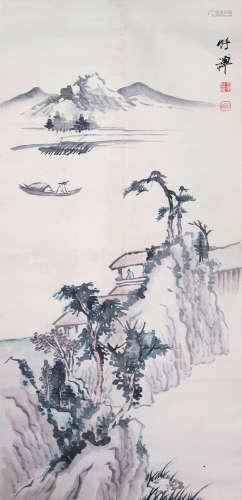 竹禅 山水 纸本立轴