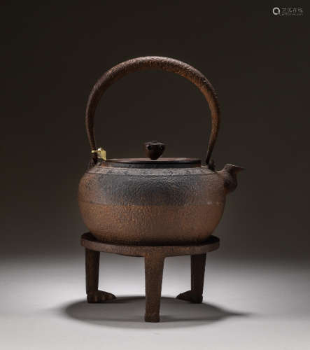 19th Japanese Antique Iron Teapot With Stand