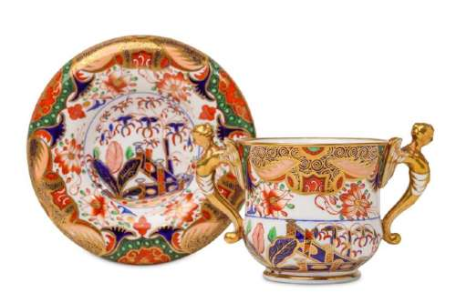 A SPODE PORCELAIN CHOCOLATE CUP AND STAND