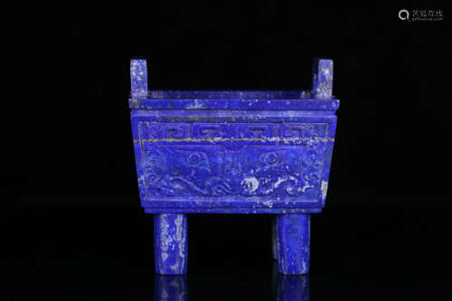 A LAZULI CARVED BEAST PATTERN DOUBLE EAR CENSER