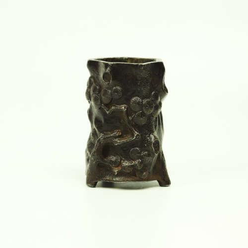 A Chinese Bronze Brush Pot