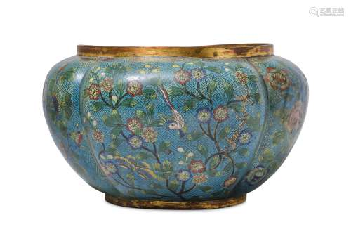 A LARGE CHINESE CLOISONNE 'BIRDS AND FLOWERS' JARDINIERE.