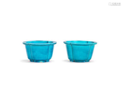 18th century A rare pair of turquoise-glazed Jardinières