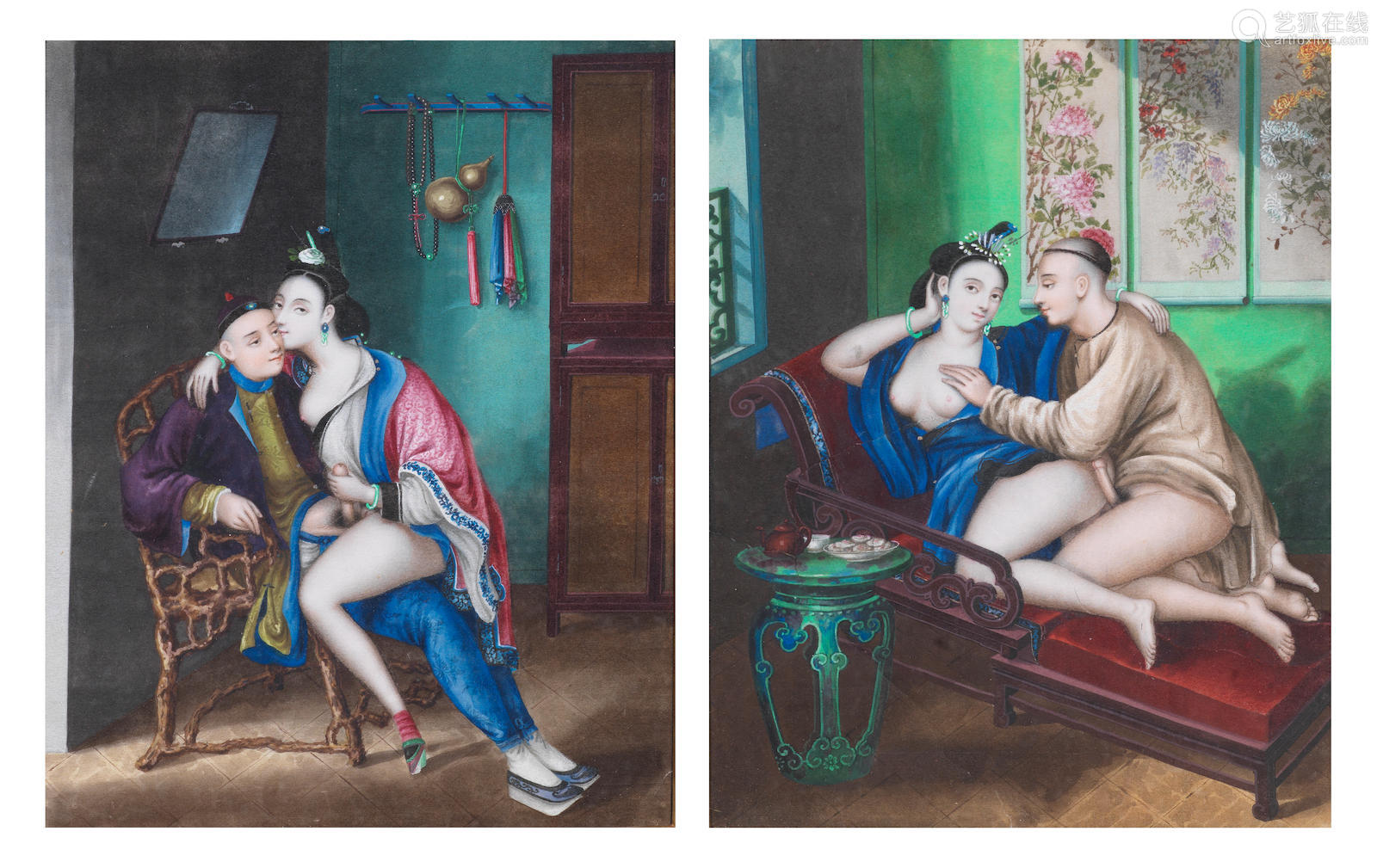 19th century A pair of erotic subject paintings