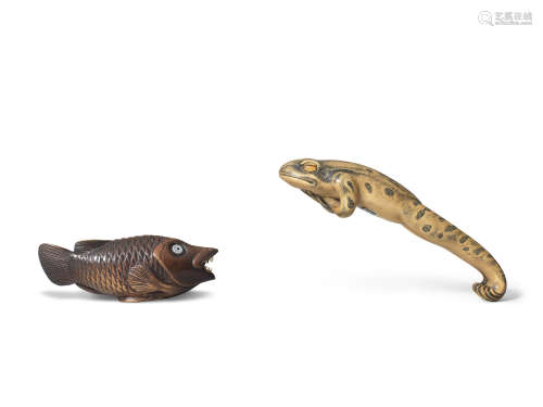 By Jack Coutu (1924-2017), English, the first carved in August 1993, the second carved May 1980 Two boxwood netsuke of a leaping frog and a fish