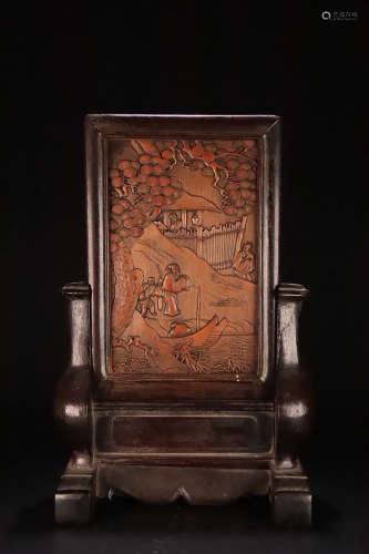 18-19TH CENTURY, A STORY DESIGN BAMBOO SCREEN WITH ROSEWOOD FRAM