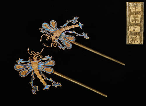 清代 纯金点翠嵌宝石蜻蜓钗子一对