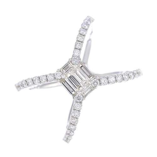 A diamond dress ring. The vari-cut diamond rectangular