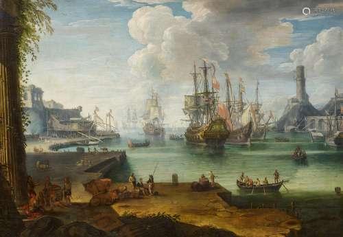 Eisman, Johann Anton1604 Salzburg - 1698 Venedig - zugeschriebenWeitläufige Hafenszene. Englische
