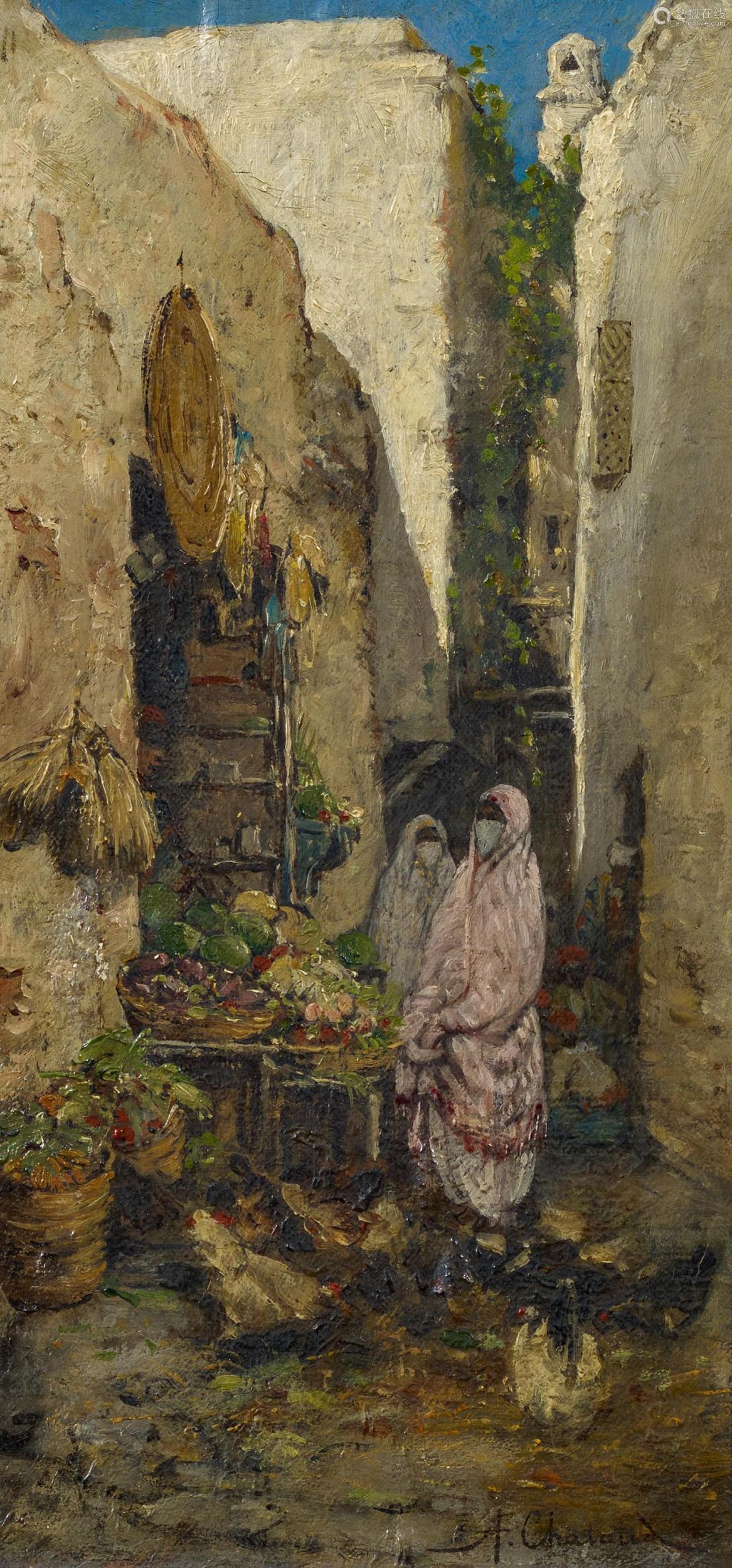 Chataud, Marc Alfred1833 Marseille - 1908 AlgierNordafrikanischer Gemüsemarkt. Öl auf Leinwand.