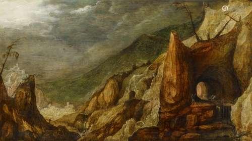 Momper, Josse de d.J.Antwerpen 1564 - 1635Phantastische Felslandschaft. Öl auf Leinwand.