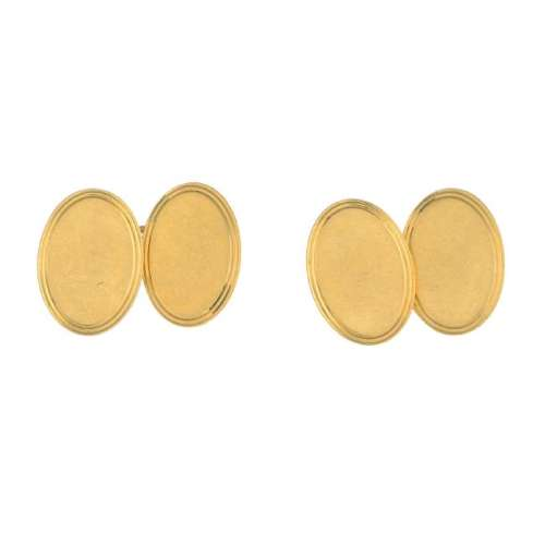 A pair of early 20th century 18ct gold cufflinks. Each
