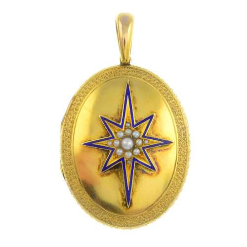 A late Victorian gold enamel and split pearl locket. Of