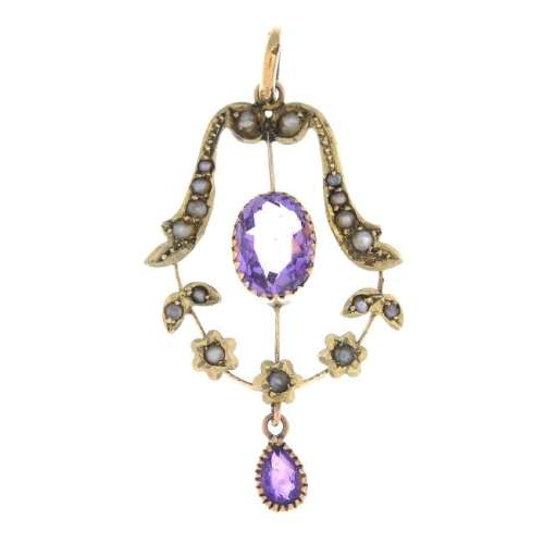An early 20th century gold amethyst and pearl pendant.