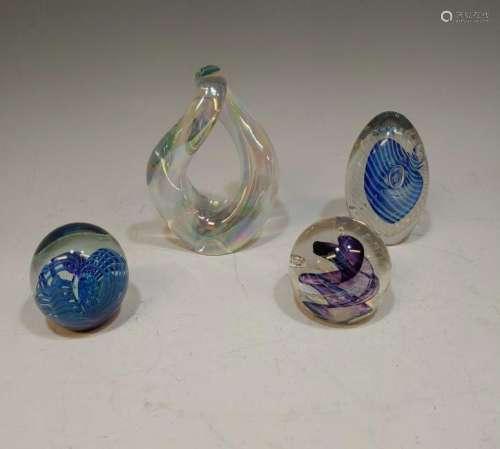 (4) Robert Eickholt Art Glass Paperweights