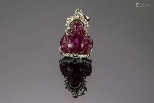 Chinese 14K Gold Diamond Pendant Ruby Buddha