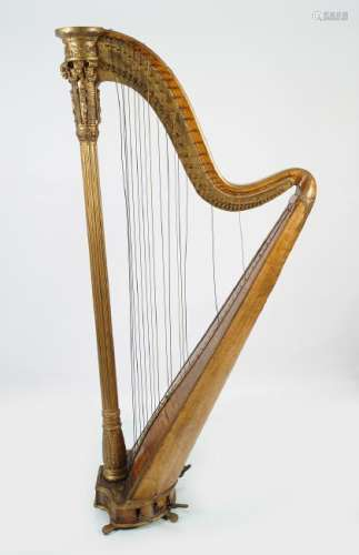 19TH-CENTURY WALNUT AND PARCEL GILT CONCERT HARP