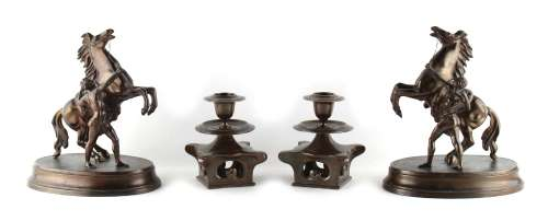 Property of a gentleman - a pair of Japanese bronze candlesticks, 4.95ins. (12.5cms.) high; together