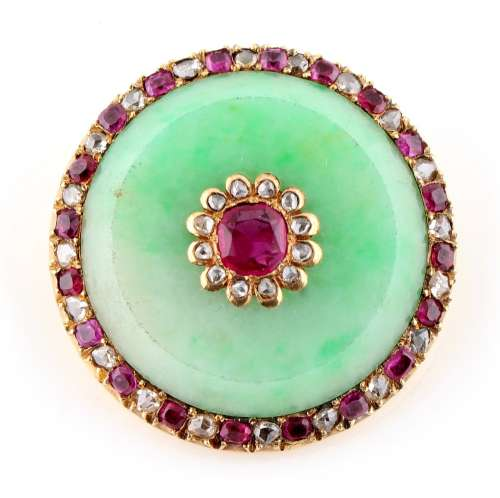 A Chinese jadeite ruby & diamond circular panel brooch, set with a central certificated untreated