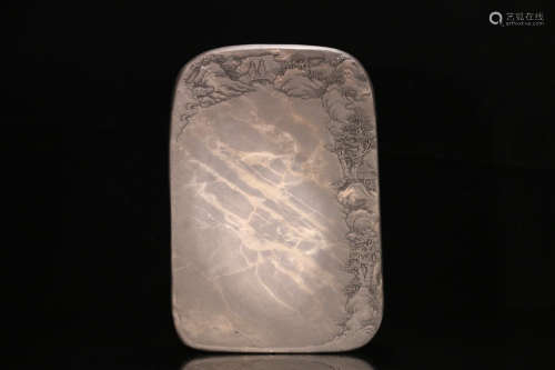 A DUAN STONE CARVED ICE PATTERN INK SLAB