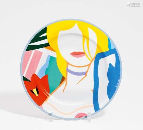 Wesselmann, Tom1931 Cincinnati - 2004 New YorkBlonde Vivienne. Künstler-Platzteller. Porzellan,