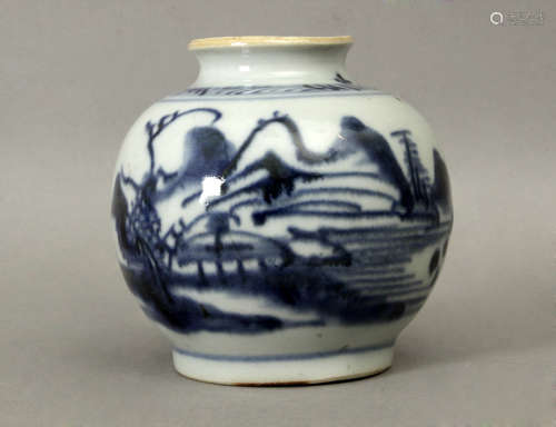 19th century Chinese Qing Dinasty vase in blue and white porcelain