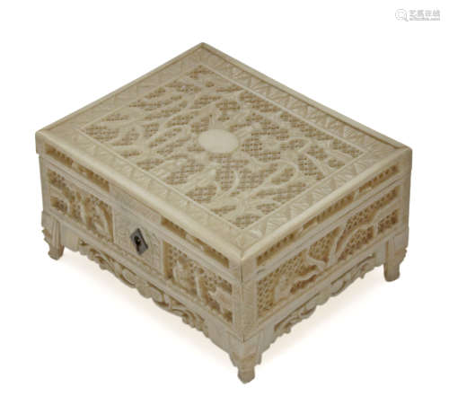 Late 19th century-first third of 20th century Chinese carved ivory box from Canton