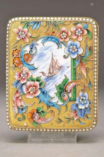 cigarette case, Moscow, around 1908, silver, 84 woman's