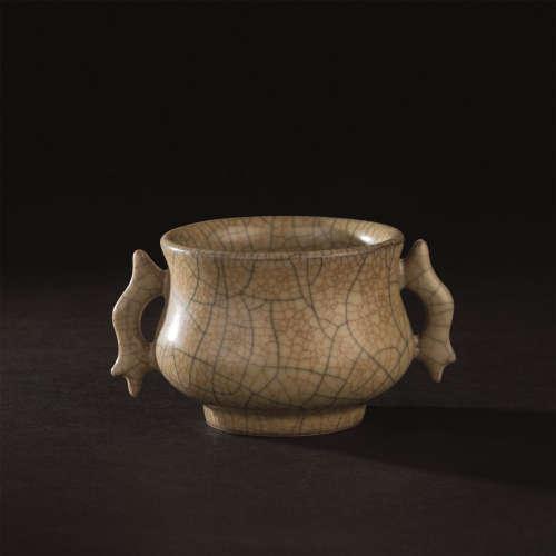 宋代-元代(960-1368) 官窑双龙耳香炉