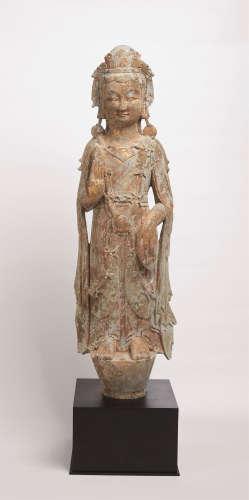 北齐(550-577) 青石彩绘观音