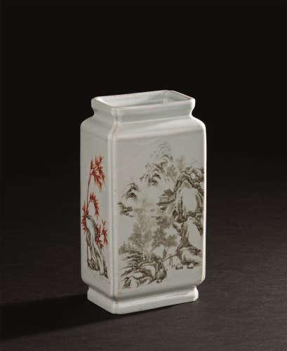 清代(1644-1911) 四方墨彩扁瓶