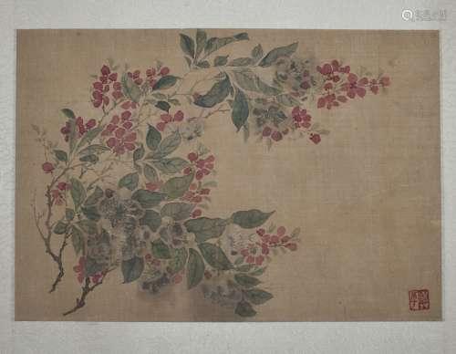 壽平 花卉 紙本 鏡片