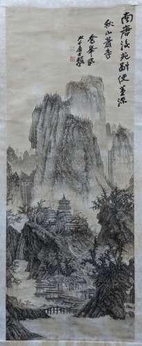 張大千、 李喬峰 秋山蕭寺圖 紙本 立軸
