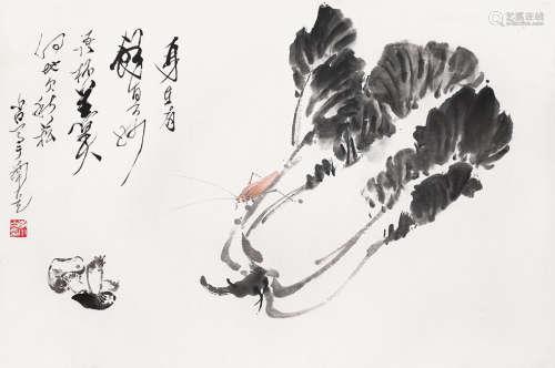 李小白 白菜草蟲 紙本 鏡片