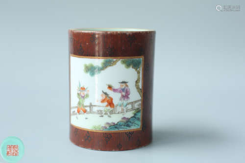 A FAMILLE ROSE BRUSH POT OF POETRY PATTERN