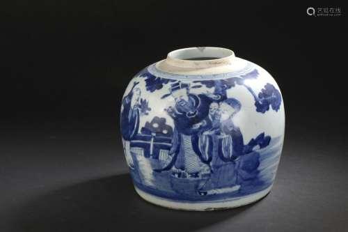 Pot en porcelaine bleu blanc Chine, fin du XIXe si...;
