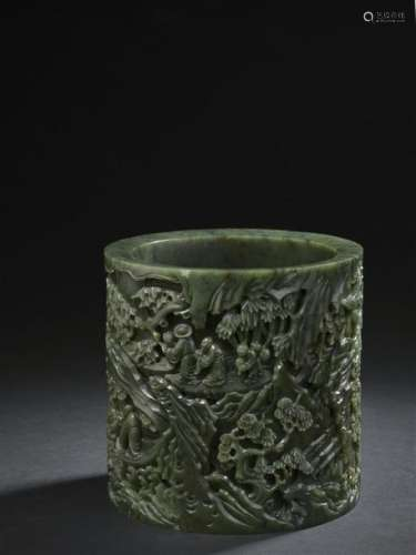 Pot à pinceaux bitong en jade vert épinard sculpté...;